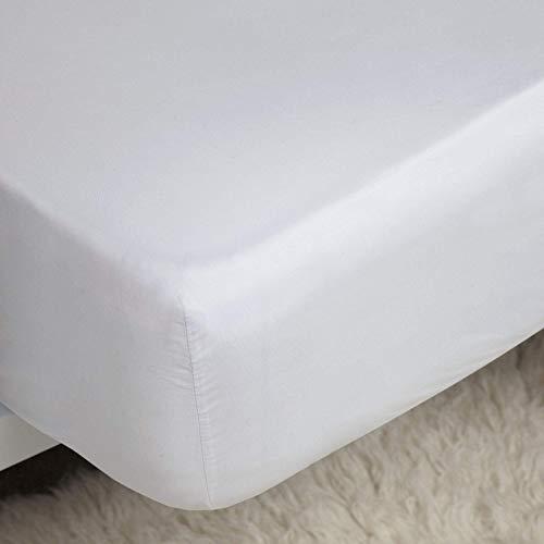 Coton égyptien-Profondeur: 18 cm-Couleur: blanc-Taille: simple (7,6 cm), 400 fils/cm ²