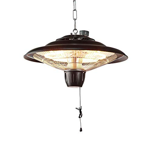 Ex-Pro 2KW Outdoor Ceiling Mounted Hanging Halogen Electric Garden Patio Heater, 2000W, IP24 Rated, with 2 Power Settings