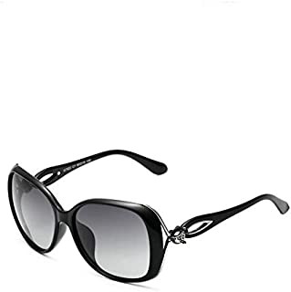 VEITHDIA Vintage Polarized Sunglasses with Oval Lens for Women-Black