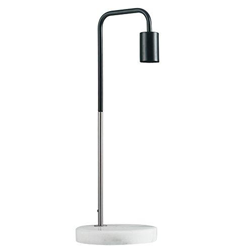 MiniSun – Moderne Tischlampe mit zweifarbigem Finish in schwarz und Chrom und weißem Marmorfuß inklusive Kabel und Stecker – Industrielle Tischlampe