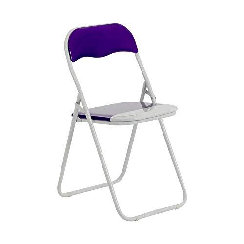 Chaise pliante rembourrée - pour le bureau - violet/blanc