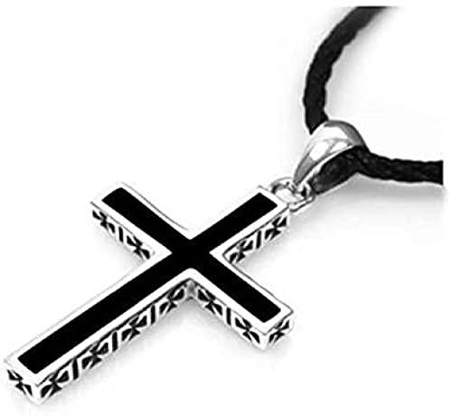 NC128 Collar de Plata 925 para Hombre, Gargantilla de joyería, Collar con Colgante de Cruz Negra de Moda para Hombres, Accesorios de Gargantilla para Mujer, Bijou