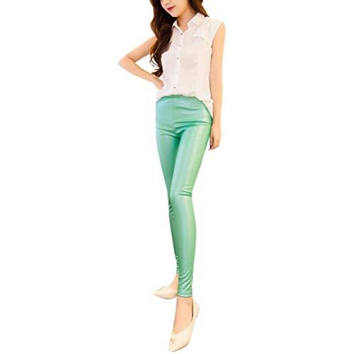 HaiDean Mode Kleurrijke Dames Faux Pu Eenvoudige Leggings Lederen Glamoureuze Panty Skinny Nat Look Strakke Slim Fit Broek Potlood Broeken