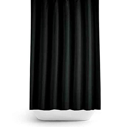 Zethome Cortina de Baño 180x200 cm Original Elegante Antimoho Impermeable Lavable Antibacteriana Poliester Tela con Anillas de Cortina Ducha Estiloso Bano Moderno (Negro)