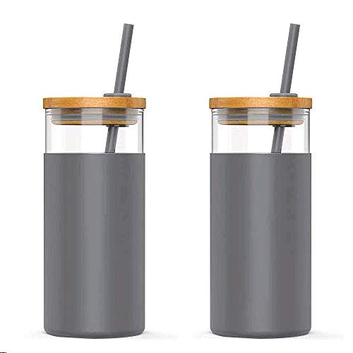 Tronco 20oz Glass Tumbler Straw Silicone Protective Sleeve Bamboo Lid - BPA Free (Charcoal Grey/ 2-Pack)