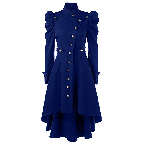 Riou Weihnachten Mäntel Damen Frack Jacke Retro Gothic Gehrock Uniform Kostüm Smoking Steampunk Party Hochzeit Abendkleid Cos Revers Dovetail Wollmantel (3XL, Blau)