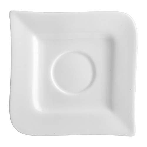 Dajar KUBIKO Ambition Welle 10,8 cm Unterteller Untersetzer runde Untertasse Porzellan modern elegant, Weiß, 8.5 cm