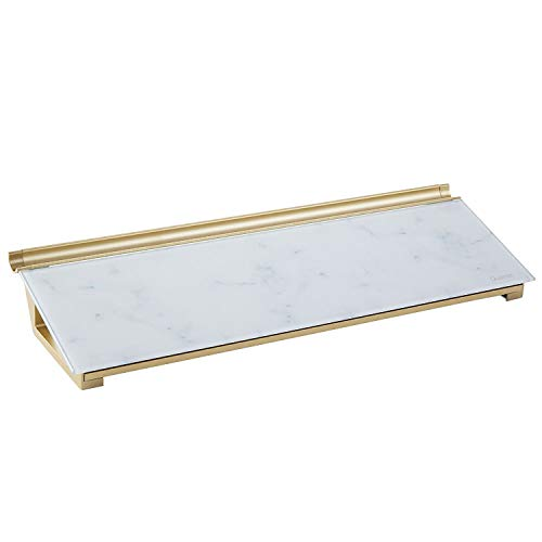 Quartet Glass Desktop Computer Pad, 18' x 6', Dry Erase Surface, Accessory Tray, Marble (GDP186M)