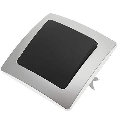 BeMatik - Interruptor empotrable con Marco 80x80mm Serie Lille de Color Plata y Gris