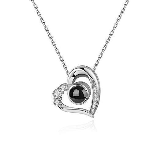 Ich Liebe Dich Halskette 100 Sprachen Herz Projektion Name Anpassung Anhänger 925 Sterling Silber Liebe Erinnerungen Schmuck