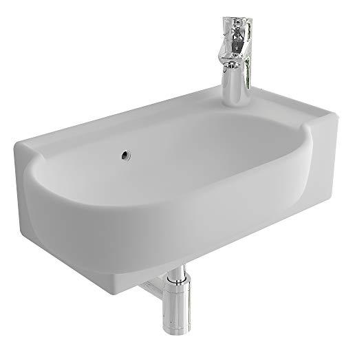bad1a Handwaschbecken Mini Waschtisch Weiß Keramik-Waschbecken 45 cm mit Überlauf  WC-Waschbecken klein Gästebad Hängewaschbecken  Wandmontage, Badezimmer  Oval Italienisches Design