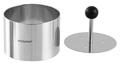Fackelmann voorgerecht ring met stempel, dessert-/voedsel van roestvrij staal, dressoir voor leuke etenscreaties (kleur: zilver/zwart), hoeveelheid: 1 stuk