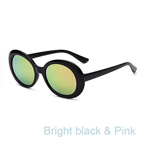 ZJMIYJ zonnebril, bril zonnebril vrouwen mannen vintage ovale bril zonnebril zwarte rand geel-groene spiegel