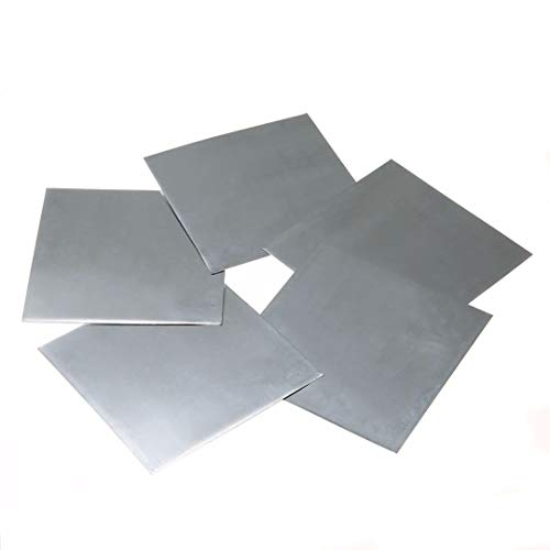 Lueao Cqinju-Cinta Cobre 5 unids Bluish-Blanca Placa de Zinc Alta Pureza 99.9% Placa de Hoja de Zinc Pura para Ciencias Laboratorio...