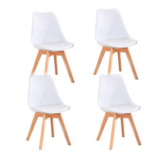 Lucky Factory Lot de 4 chaises de Salle à Manger scandinaves Chaises à Manger utilisé pour Cuisines,Salon,Chambre à Coucher (Blanc)