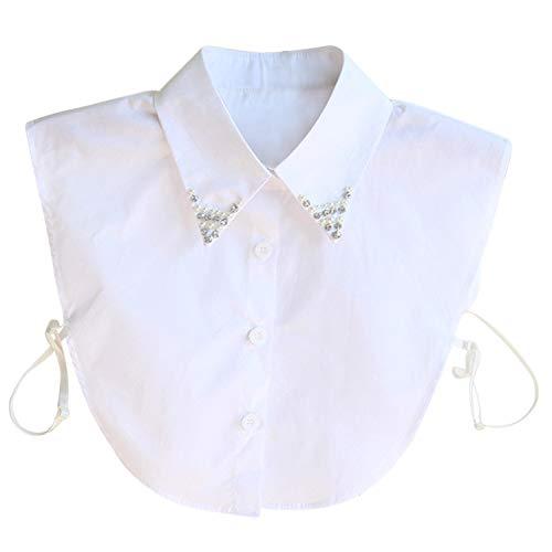 Hocaies Frauen Kragen Vintage Elegante Abnehmbare Hälfte Shirt Bluse Cotton Kragen Weiß Damen Blusenkragen, Strass Chiffon, M