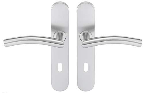 Bricard 666472 - Set di maniglie in acciaio inox su piastra Tempo Classic per camera, porta interna a chiave
