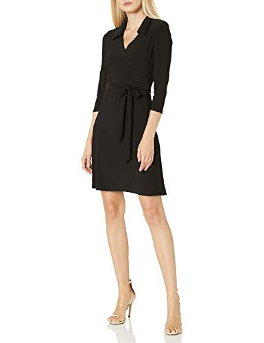 Star Vixen Women's Petite 3/4 Sleeve Faux Wrap Dress with Collar, Black, PS