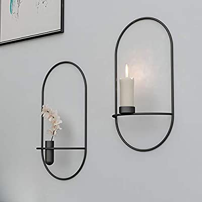 WAQIA HOUSE Set of 2 Geometic Wall Candle Sconces Flower Pot, 3D Hanging Tea Light Sconces Candleholders Wall Decorations for Living Room, Bedroom, Dinning Room