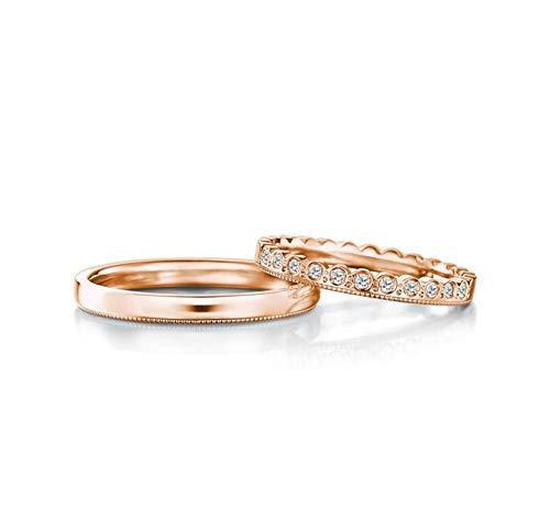KnBoB Verlobungsringe Zweiteilig Einfach Runde Diamant 0.15ct 18K Rose Gold Ringe Größe Damen 57 (18.1) & Herren 63 (20.1)