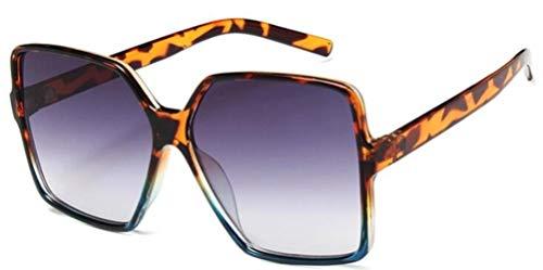 XCVB Dames zonnebril Kunststof montuur Zonnebril Heren Hippie, C3 luipaard blauw grijs