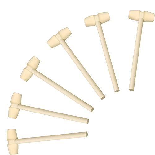 6 piezas mini martillos de madera para chocolate mini juguete martillo de madera juguetes niños mazo de cangrejo de madera multiusos artesanía y..