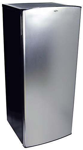Koolatron Compact Fridge with Freezer, Stainless Steel, 6.2 Cubic Feet (176 L) Capacity, for Snacks, Frozen Meals, Beverages, Juice, Beer, Den, Dorm, Office, Games Room, or RV