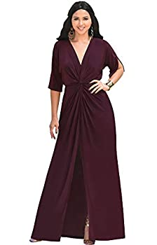 KOH KOH Plus Size Womens Long Sexy V-Neck Short Sleeve Cocktail Evening Bridesmaid Wedding Party Slimming Casual Summer Maxi Dress Dresses Gown Gowns Maroon Wine Red 2XL 18-20