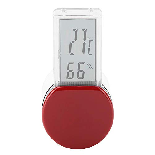 Pssopp Elektronisches Reptilien Hygrometer Thermometer Wasserdicht Echtzeit Eidechsen Raupenbox Regenwaldtanks Luftfeuchtigkeitstemperaturüberwachung mit eingebautem Sensor (rot)