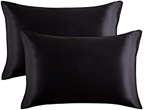 Bedsure Satin Pillowcase for Hair and Skin, 2-Pack - Queen Size (20x30 inches) Pillow Cases - Satin Pillow Covers with Envelope Closure, Black
