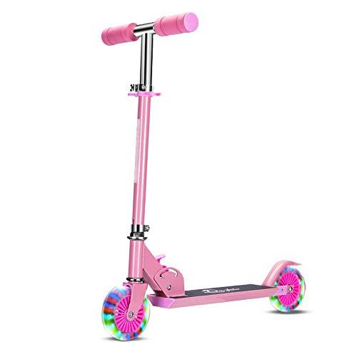 ALTINOVO Stunt Scooter con Rendimiento Estable: el Mejor Scooter de Nivel de Entrada, 7 Luces LED de Color en Las Ruedas,Pink