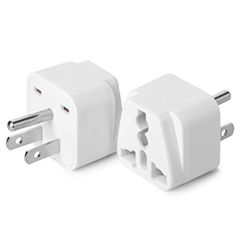Bates- Universal to American Outlet Plug Adapter, 2 Pack, Canada Universal Travel Plug Adapter, 2 pc, UK to US Adapter, US Plug Adapter, US Travel Adapter, Plug Converter, Universal Travel Adapter