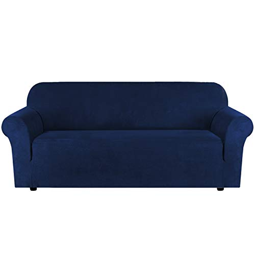 High Stretch Velvet Plush Sofa Cover Water Repellent Furniture Protector Suede Couch Covers for Sofa Velvet Suede Plush Easy Fit Elastic Fabric Sofa Protector, 3 Seater, Navy