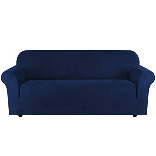 H.Versailtex, Copridivano in velluto elasticizzato per divano a 1/2/3 posti, idrorepellente, vari colori, Pelle & scamosciato, Marina Militare, 3 Seater:173-245cm