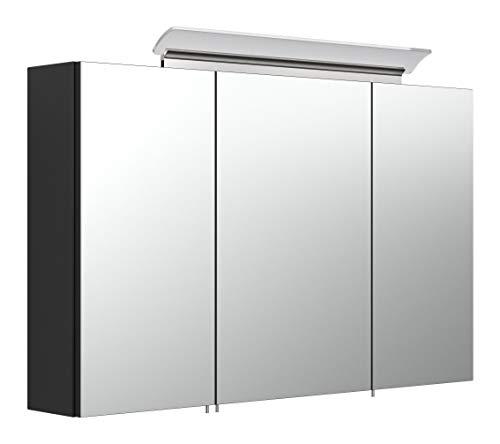 emotion Spiegelschrank 100cm inkl. Design LED-Lampe und Glasböden schwarz seidenglanz