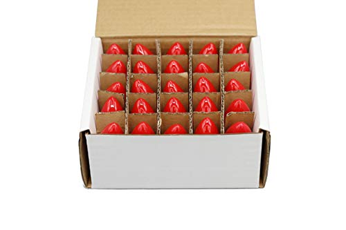 Creative Hobbies Box of 25 Light Bulbs, Ceramic Opaque Red, Steady Burning, 7 Watt, C7 Candelabra Base -Great for Night Lights, Decorative Lights and Christmas Strings