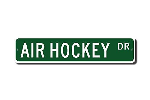 qidushop Air Hockey Air Hockey Geschenk Air Hockey Fan Air Hockey Lover Tischhockey Spiel Straßenschild Hausdekoration Metallschild