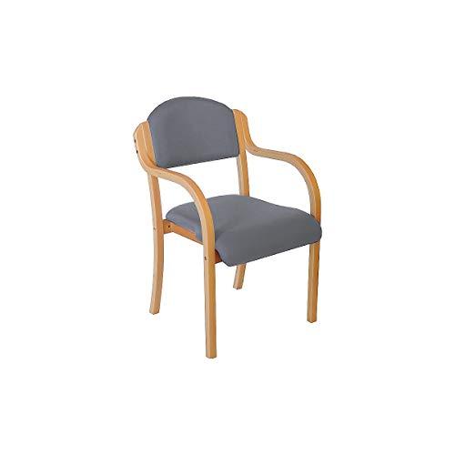 Certeo Stapelstuhl Devon mit Armlehnen, grau - Wartezimmerstuhl mit Holzgestell - Gepolsterter Besucherstuhl