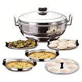 PLANET 007 Silver Stainless Steel Multi kadai Dhokla Plate Idli Plate Steamer Plate patra Multipurpose kadai
