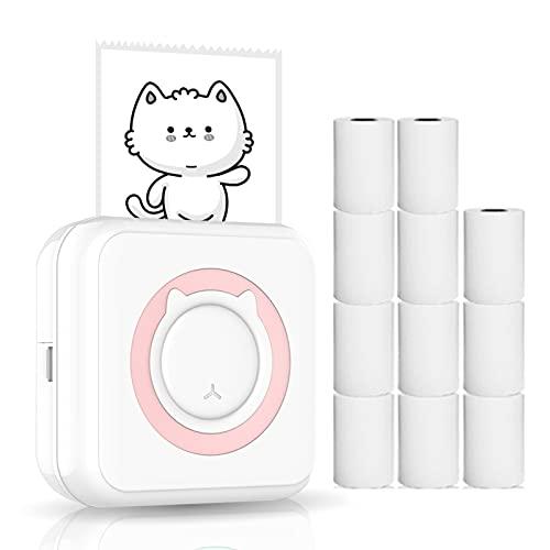 Kstyhome Mini stampante all-in-one Stampante fotografica portatile multifunzione per smartphone Stampante termica per immagini wireless con 11 rotoli di carta termica compatibile con iOS Android