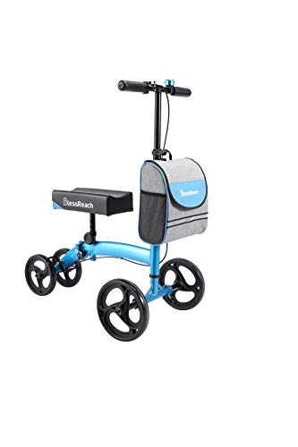 BlessReach Steerable Knee Walker Deluxe Medical Scooter for Foot Injuries Compact Crutches (Blue&Black)