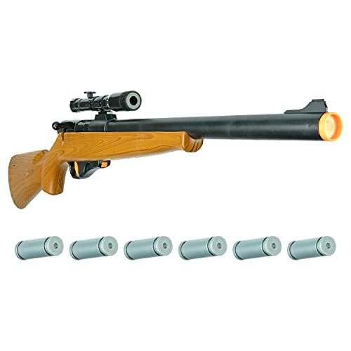 Kids Electronic Bolt Action Rifle Toy - Hoopla Toys - Toy Gun w/ Real Firing Sounds and Play Ammo, Hunting Gift (Model: HT-10021)