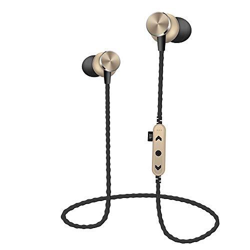 JIJI886 Bluetooth BT4.2 TF sans Fil MP3 Carte mémoire SD Card stéréo Sport Casque Écouteur - Rapport qualité Prix au Top Produit - 9 Heures de Conversation et 120 Heures en Veille avec Une - (d'or)