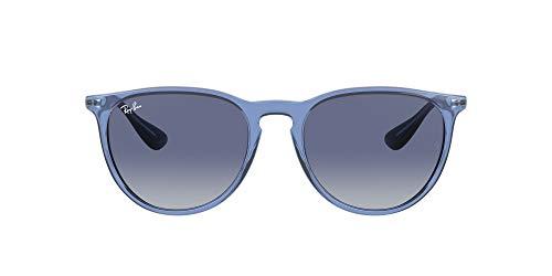 Ray-Ban Rb4171 Erika Óculos de sol femininos redondos, Blue/Light Grey Dark Blue Gradient, 54 mm