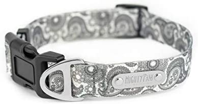 Mighty Paw Grey Paisley Designer Collar Stylish Adjustable Patterned Collar Dogs Made with Heavy product image