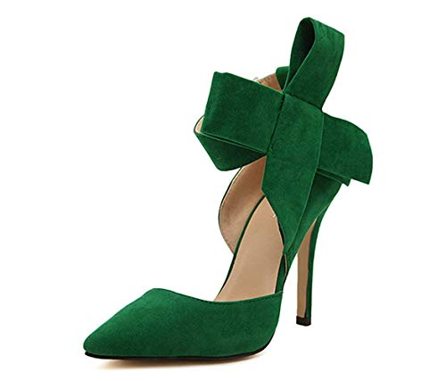 Z&L Fashion Women's Pointy Toe High Heel Stiletto Big Bow Pumps Green Size 8