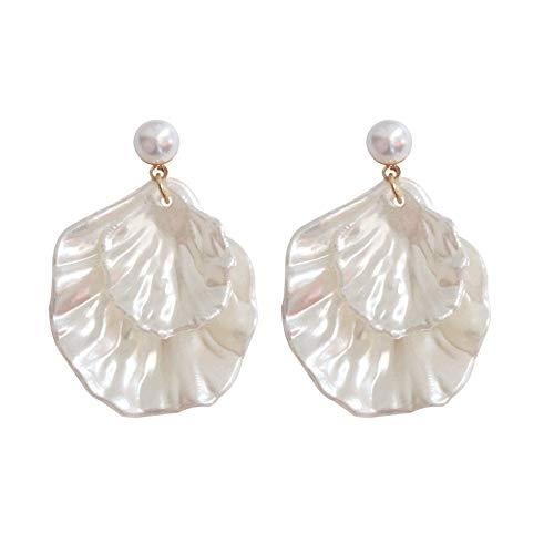 palettei Natürliche Perlenmuschel asymmetrische Ohrringe Double Leaf Urlaub Stil Ohrringe Frauen
