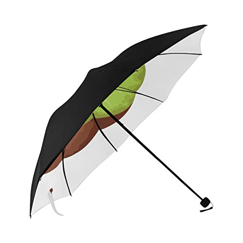 Compact Rain Umbrella Tropical Delicious Fruit Kiwi Icon Cartoon Underside Printing Mens Travel Umbrella Boy Umbrella Stroller Best Travel Umbrella With 95% Uv Protection For Women Men Lady Girl