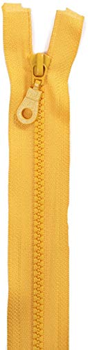 Jajasio 2 Reißverschlüsse mit Zähnchen teilbar, 90 cm lang Reißverschluss Kunststoff für Jacken/Farbe: 04 - gelb