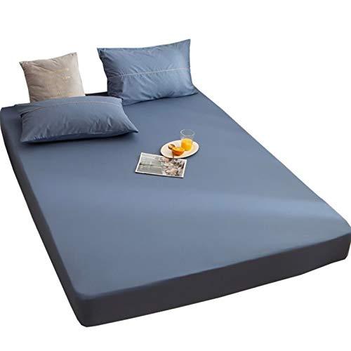 MHCYKJ Protector de colchón transpirable, a prueba de polvo, ultrasoft, funda lavable, bolsillo profundo, arruga e hipoalergénica, para adultos (color: azul marino, tamaño: 150 x 200 + 25 cm)